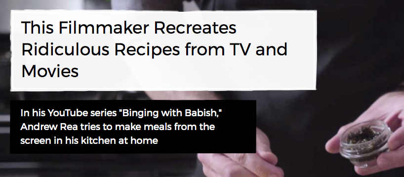 binging with babish headline